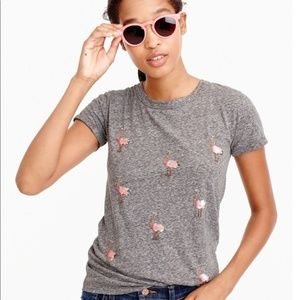 J. Crew ostrich beaded/sequin heather grey tshirt